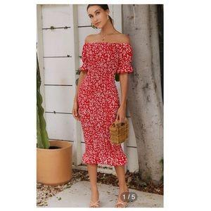 SHEIN Off Shoulder Ruffle Trim Shirred Ditsy Dress
